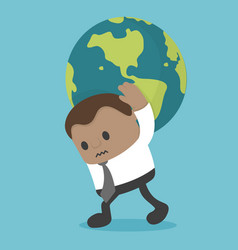 Business concept businessman carrying the world vector