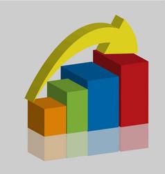 business rising progress graph bar vector image