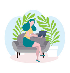 business woman works with laptop concept vector image