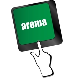 Button with aroma on Computer Keyboard key vector