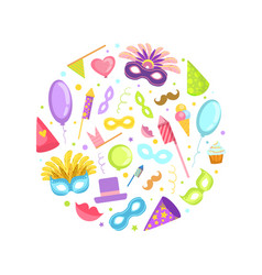 carnival celebration party objects in circular vector image