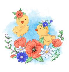 cartoon a cute chicken in a wreath vector image