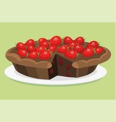 Cartoon cake fresh tasty dessert sweet pastry pie vector