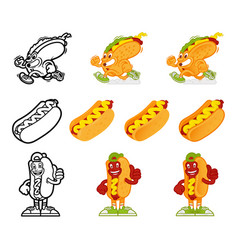 cartoon character hotdog set vector image