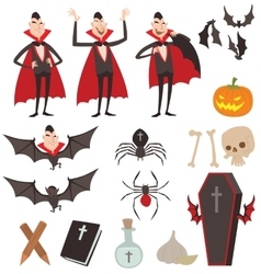 Cartoon Dracula symbols icons vector