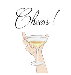 cheers cocktail in hand woman holding glass with vector image