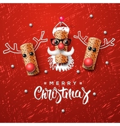 Christmas characters Santa Claus and reindeer vector image