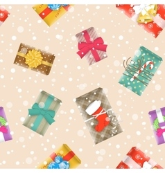 Christmas gifts festive seamless background vector