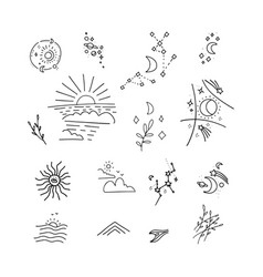 collection doodle decor elements - rising vector image