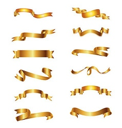Collection of golden ribbons gold set vector