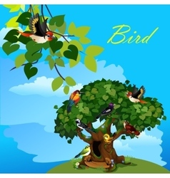 Colorful card with cute birds on the tree vector