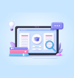 concept e-learning online education at home 3d vector image