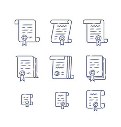 Contract linear icons vector