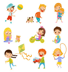 cute boys and girls doing sports and playing set vector image