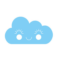 Cute fantasy cloud kawaii character vector