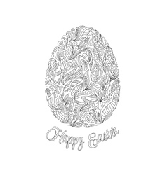 Easter egg with pattern in entangle style vector