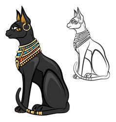Egypt cat goddess bastet vector