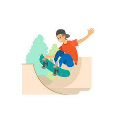 extreme teen sport skateboarding and skate park vector image