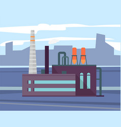 factory industry in city cityscape and manufacture vector image