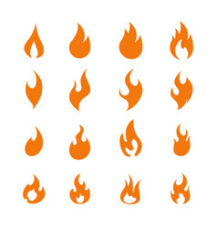 fire flame logo icon set of sixteen vector image