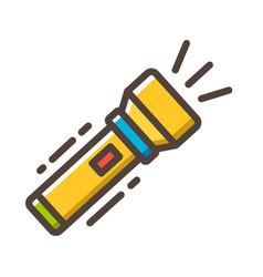 Flashlight line color icon vector