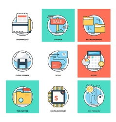 Flat Color Line Design Concepts Icons21 vector