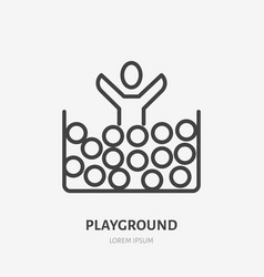 flat line icon of happy kid jumping in ball pool vector image