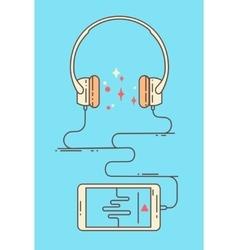 Flat linear smartphone and headphones vector