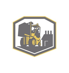 Forklift Truck Materials Handling Logistics Retro vector