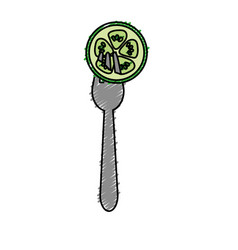 Fresh slice cucumber in the fork utensil vector
