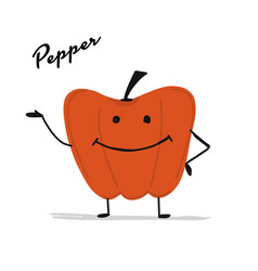 funny smiling paprika character for your design vector image
