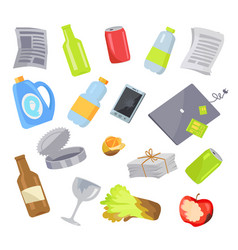 Garbage waste items collection vector