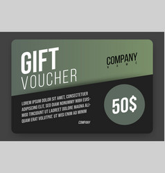 gift voucher template with green gradient cute vector image