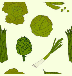 green vegetable pattern vector image