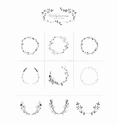 Hand drawn floral frames wreaths branches vector
