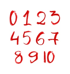 Hand drawn red chalk numbers set vector