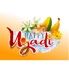 happy ugadi template greeting card traditional vector image