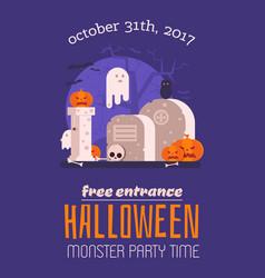 Haunted graveyard halloween card vector