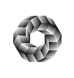 Hexagon and cubes with optical effect vector