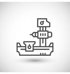 Horizontal boring machine line icon vector