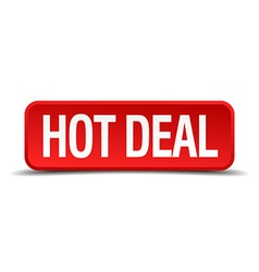 Hot deal red 3d square button on white background vector image