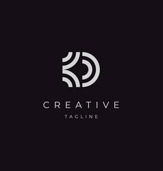 initial letter d kd logo design vector image