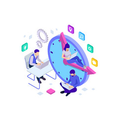 Isometric effective time management concept vector