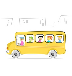 kids in school bus vector image