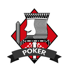 king of diamond card poker ribbon symbol vector image