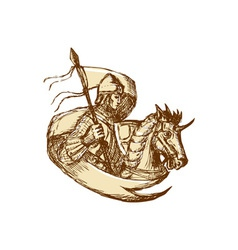 Knight On Horse Holding Flag Drawing vector image