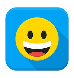 Laughing Yellow Smiley Face Flat App Icon vector image
