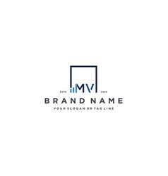 Letter mv square logo finance design vector