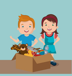 little boy and girl playing with toys characters vector image