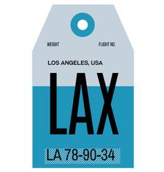 Los angeles airport luggage tag vector